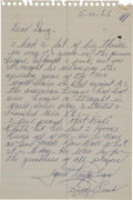 Autographs:Letters, 1966 Guy Bush Handwritten Letter re: Giving Up Babe Ruth's LastHome Runs....