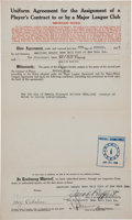 Autographs:Others, 1926 Wally Pipp New York Yankees to Cincinnati Reds Sale Agreement....