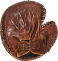Baseball Collectibles:Others, Early 1930's Catcher's Mitt Worn by Bob Feller's Father to TrainHis Son....
