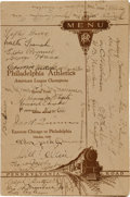 Autographs:Others, 1929 Philadelphia Athletics Team Signed World Series Travel Train Menu....