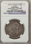 Bust Half Dollars, 1820/19 50C Curl Base 2--Improperly Cleaned--NGC Details. VF.0-102. PCGS Population (3/90). (#6126)...