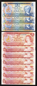Canadian Currency: , BC-47a $2 1974 Seven Examples. BC-53a $5 1979 Three Examples.. ...(Total: 10 notes)