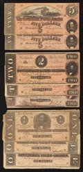 Confederate Notes:1864 Issues, $5; $2; and $1 1864 Notes.. ... (Total: 8 notes)
