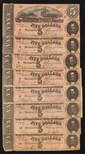 Confederate Notes:1864 Issues, T69 $5 1864.. ... (Total: 8 notes)