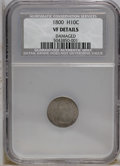 Early Half Dimes: , 1800 H10C --Damaged--NCS. VF Details. V-1, LM-1, R.3. Moderatelyworn with pleasing blue-gray and gold-gray patina. Two sign...