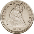 Seated Quarters: , 1872-CC 25C XF45 NGC. The 1872-CC is rare in all grades, althoughunlike the other No Arrows Carson City issues, it is coll...