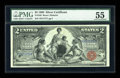 Large Size:Silver Certificates, Fr. 248 $2 1896 Silver Certificate PMG About Uncirculated 55....