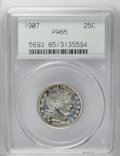 Proof Barber Quarters: , 1907 25C PR65 PCGS. Deeply reflective with patches of cloudy lavender patina and thin champagne-rose toning. Boldly defined...