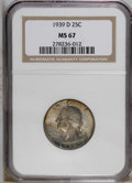 1939-D 25C MS67 NGC. Swirling violet, gray, and tan patina covers the highly lustrous surfaces and boldly impressed devi...