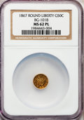California Fractional Gold: , 1867 50C Liberty Round 50 Cents, BG-1018, High R.4, MS62 ProoflikeNGC. NGC Census: (1/1). (#71084...