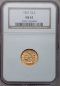 Liberty Quarter Eagles: , 1852 $2 1/2 MS62 NGC. NGC Census: (226/138). PCGS Population(103/115). Mintage: 1,159,681. Numismedia Wsl. Price for probl...