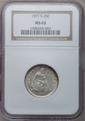 Seated Quarters: , 1877-S 25C MS62 NGC. NGC Census: (38/186). PCGS Population(45/200). Mintage: 8,996,000. Numismedia Wsl. Price for problem ...