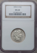 Barber Quarters: , 1894-O 25C MS60 NGC. NGC Census: (1/93). PCGS Population (1/68).Mintage: 2,852,000. Numismedia Wsl. Price for problem free...