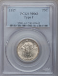 Standing Liberty Quarters: , 1917 25C Type One MS63 PCGS. PCGS Population (481/852). NGC Census:(247/720). Mintage: 8,740,000. Numismedia Wsl. Price fo...
