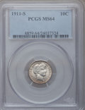 Barber Dimes: , 1911-S 10C MS64 PCGS. PCGS Population (50/88). NGC Census: (35/61).Mintage: 3,520,000. Numismedia Wsl. Price for problem f...
