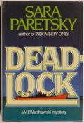 Books:Mystery & Detective Fiction, Sara Paretsky. INSCRIBED. Deadlock. A V.I. WarshawskiMystery. Garden City: The Dial Press, 1984. First edition....