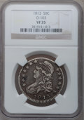 Bust Half Dollars, 1813 50C VF35 NGC. O-103. NGC Census: (13/633). PCGS Population(45/427). Mintage: 1,241,903. Numismedia Wsl. Price for pr...