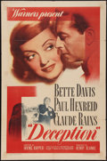 "Movie Posters:Crime, Deception (Warner Brothers, 1946). One Sheet (27"" X 41""). Crime....."