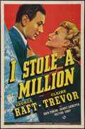 "Movie Posters:Mystery, I Stole a Million (Universal, 1939). One Sheet (27"" X 41"").Mystery.. ..."
