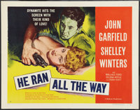 "He Ran All the Way (United Artists, 1951). Half Sheet (22"" X 28"") Style B. Film Noir"