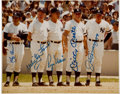 Autographs:Photos, Early 1980's Yankees Legends Signed Photograph with DiMaggio,Mantle, Maris....