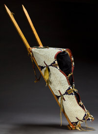 A CHEYENNE BEADED HIDE BABY CARRIER c. 1890
