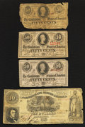 Confederate Notes:1861 Issues, T30 $10 1861. T63 50 Cents 1863 Three Examples.. ... (Total: 4 notes)