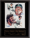 Baseball Collectibles:Others, Mickey Mantle and Don Mattingly Multi Signed Print Plaque. ...