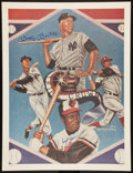 "Baseball Collectibles:Others, Ted Williams, Frank Robinson and Mickey Mantle Multi Signed ""TripleCrown"" Lithograph...."