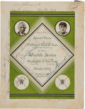 Autographs:Others, 1933 Washington Senators Team Signed World Series Travel Train Menu....