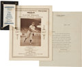 Baseball Collectibles:Others, 1927 Walter Johnson Twentieth Anniversary Signed Letter &Personally Saved Souvenir Ribbon & Program....