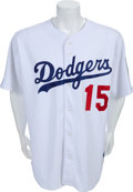 Baseball Collectibles:Uniforms, 2001 Shawn Green Game Worn Los Angeles Dodgers Jersey withPost-9/11 Flag Patch....