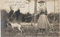 """Autographs:Celebrities, Annie Oakley: A Wonderful Real Photo Postcard of Annie and Dog Dave Hunting Quail, Inscribed and Signed """"Annie"""". ..."""