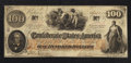 Confederate Notes:1862 Issues, T41 $100 1862. Overprinted Interest Paid Stamp.. ...