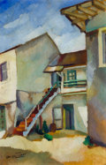 "Fine Art - Painting, American:Modern  (1900 1949)  , OTIS OLDFIELD (American, 1890-1969). Stevenson House, Monterey(Series #8 from ""Notes of a Promenade with Yun Gee""), 192..."