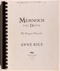 Books:Horror & Supernatural, Anne Rice. INSCRIBED. Memnoch the Devil, The VampireChronicles - Publisher's Page Proofs. New York: Knopf, 1995...