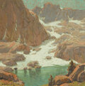 Fine Art - Painting, American, EDGAR ALWIN PAYNE (American, 1883-1947). Sierra Landscape.Watercolor and gouache on paper. 14 x 14 inches (35.6 x 35.6 ...