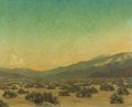 Fine Art - Painting, American, LELAND CURTIS (American, 1897-1992). The End of a DesertDay, 1924. Oil on canvas. 24 x 30 inches (61.0 x 76.2 cm).Sign...
