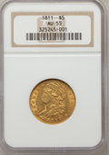 Early Half Eagles: , 1811 $5 Small 5 AU55 NGC. NGC Census: (30/240). PCGS Population(26/131). Mintage: 99,581. Numismedia Wsl. Price for proble...