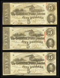 Confederate Notes:1863 Issues, T60 $5 1863. Three Examples.. ... (Total: 3 notes)