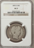 Barber Half Dollars: , 1893-S 50C AG3 NGC. NGC Census: (0/113). PCGS Population (27/236).Mintage: 740,000. Numismedia Wsl. Price for problem free...