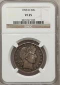 Barber Half Dollars: , 1908-D 50C VF25 NGC. NGC Census: (4/227). PCGS Population (14/370).Mintage: 3,280,000. Numismedia Wsl. Price for problem f...
