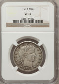 Barber Half Dollars: , 1912 50C VF35 NGC. NGC Census: (3/278). PCGS Population (17/377).Mintage: 1,550,700. Numismedia Wsl. Price for problem fre...