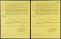 Baseball Collectibles:Others, 1985 Hank Aaron Signed Greenville Braves Signed Contracts Lot of2....