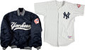 Baseball Collectibles:Uniforms, 2003 Sterling Hitchcock Game Worn New York Yankees Jersey andUnknown Players Warm Up Jacket....
