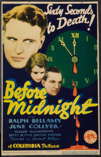 "Before Midnight (Columbia, 1933). Midget Window Card (8"" X 14""). Mystery"