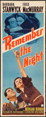 "Remember the Night (Paramount, 1940). Insert (14"" X 36""). Comedy"