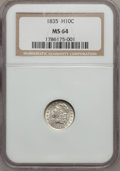 Bust Half Dimes, 1835 H10C Small Date, Small 5C MS64 NGC. V-7, LM-10, R.1....