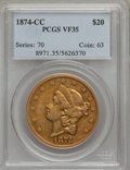 Liberty Double Eagles, 1874-CC $20 VF35 PCGS. Variety 2-A....