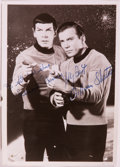 Books:Science Fiction & Fantasy, [Star Trek]. Photograph Signed by Leonard Nimoy and William Shatner. [n. d., ca. 1969]. 6.75 x 4.75 inches. Bio-predation to...